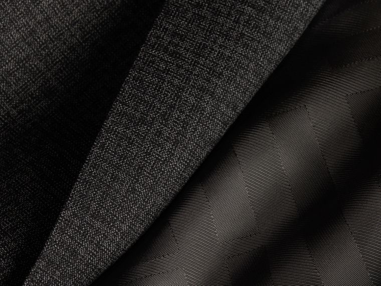 Dark grey melange Slim Fit Melange Wool Half-canvas Suit - cell image 1