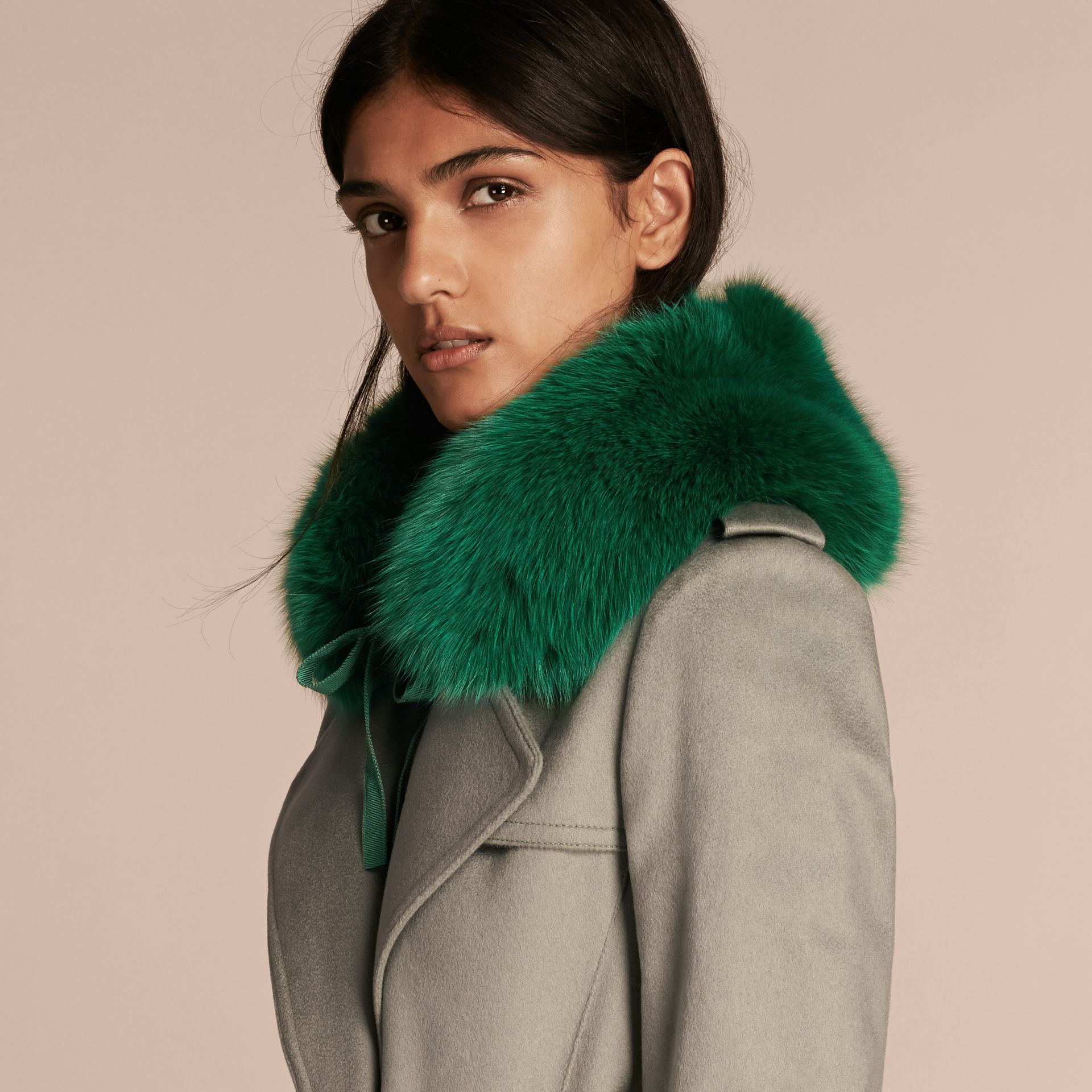 Fox Fur Collar with Check Cashmere Lining in Emerald - Women | Burberry - gallery image 3