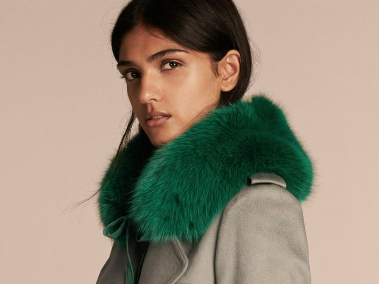Fox Fur Collar with Check Cashmere Lining in Emerald - Women | Burberry - cell image 2