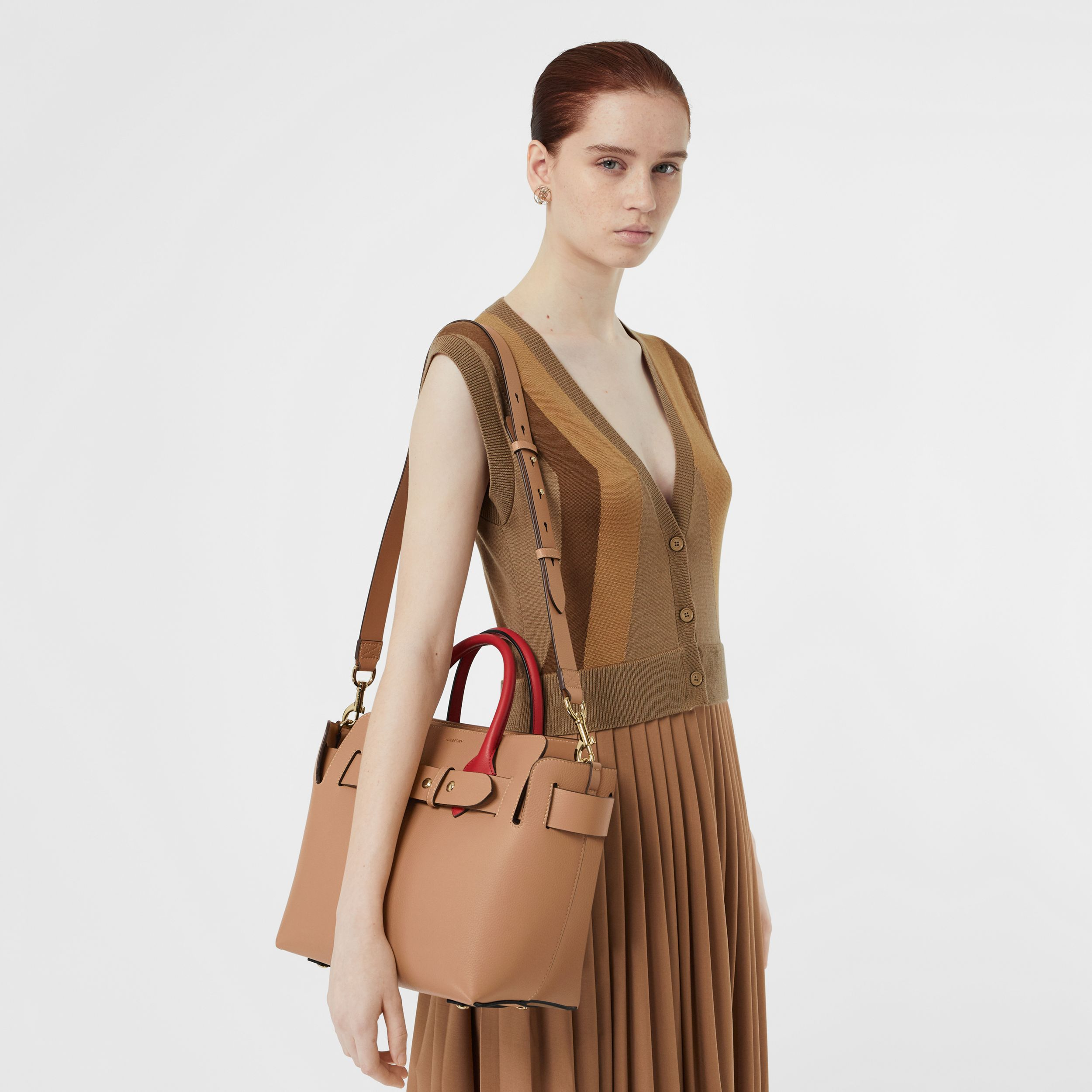 The Small Leather Triple Stud Belt Bag in Light Camel - Women | Burberry - 3