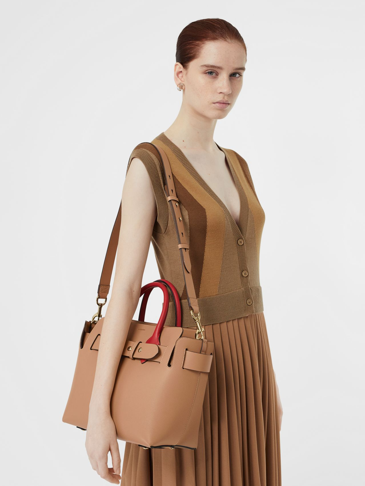 The Small Leather Triple Stud Belt Bag in Light Camel