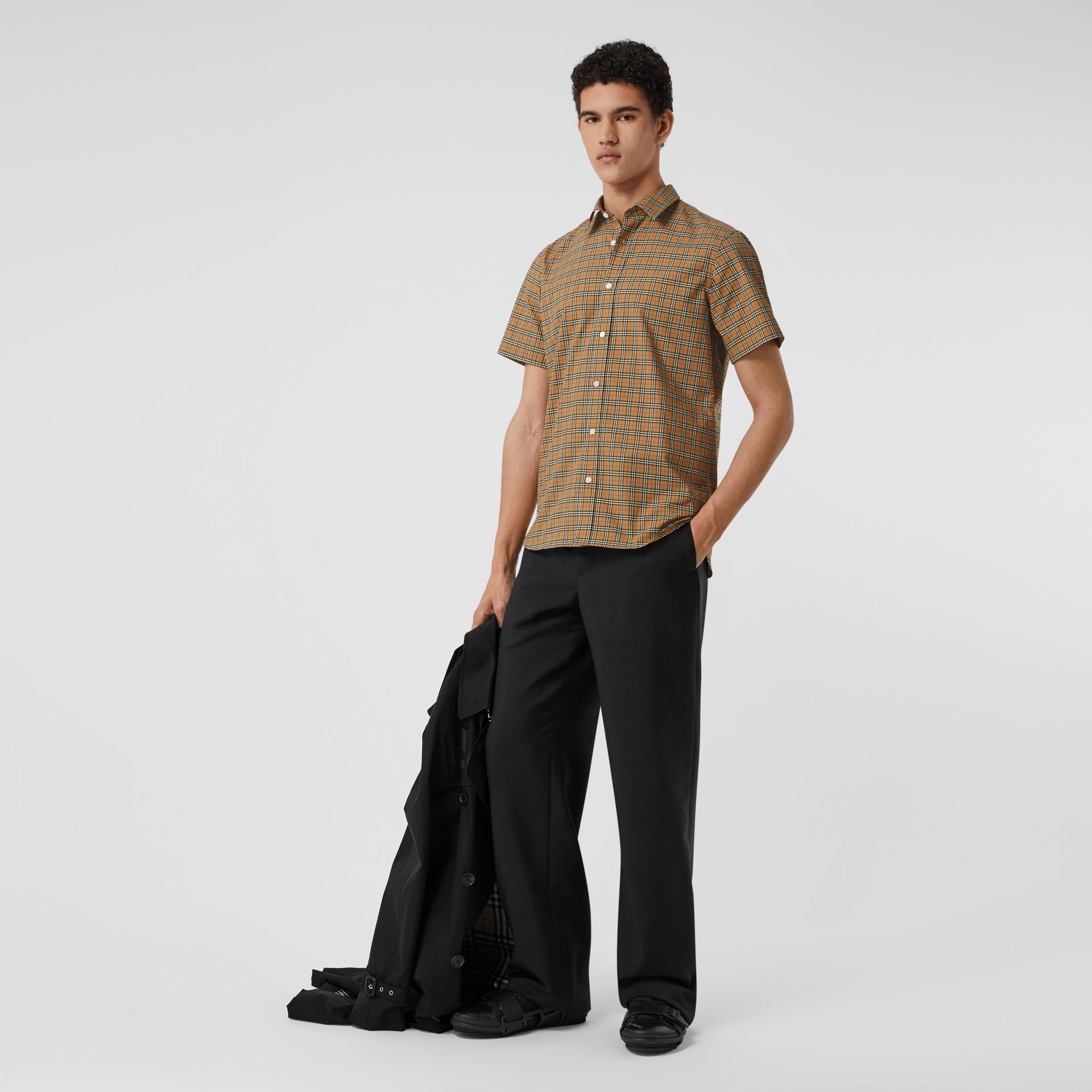 Short-sleeve Check Cotton Shirt in Antique Yellow - Men | Burberry - gallery image 0