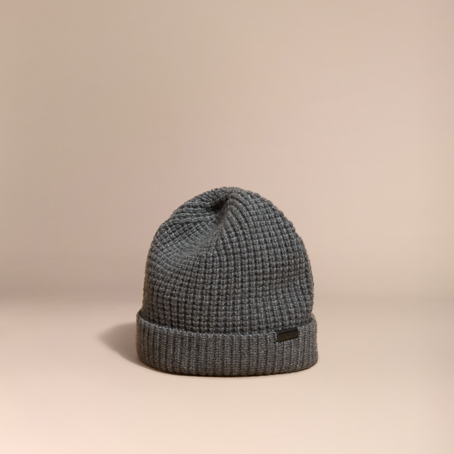 Cashmere Blend Waffle Knit Beanie in Mid Grey - Men | Burberry - gallery image 1