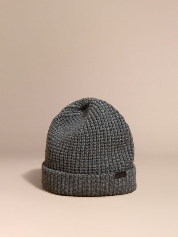 Cashmere Blend Waffle Knit Beanie in Mid Grey - Men | Burberry Australia
