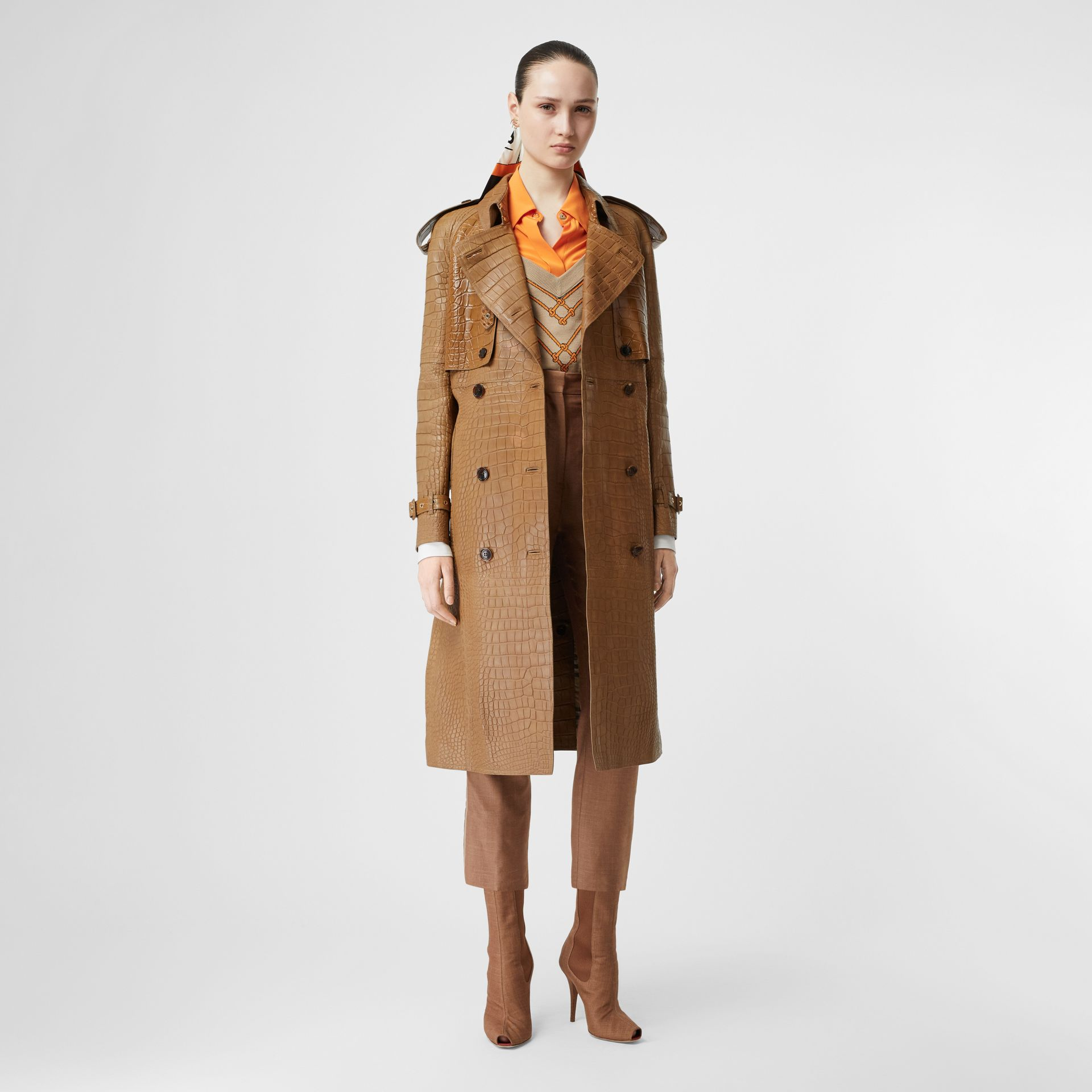 Alligator Trench Coat in Flaxseed - Women | Burberry - gallery image 0