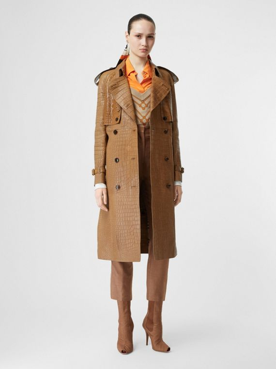 Alligator Trench Coat in Flaxseed
