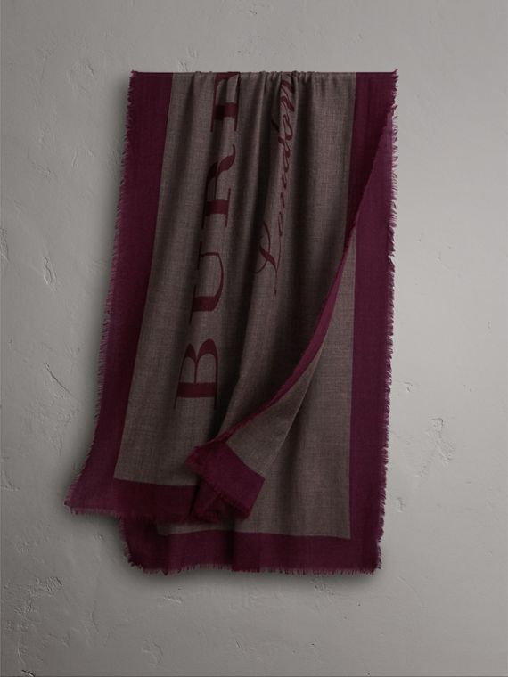 Graphic Print Motif  Lightweight Cashmere Scarf in Ash Rose