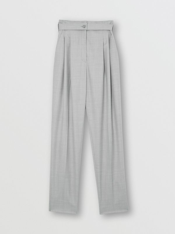 Cut-out Detail Wool Tailored Trousers in Heather Melange - Women | Burberry United States - cell image 3