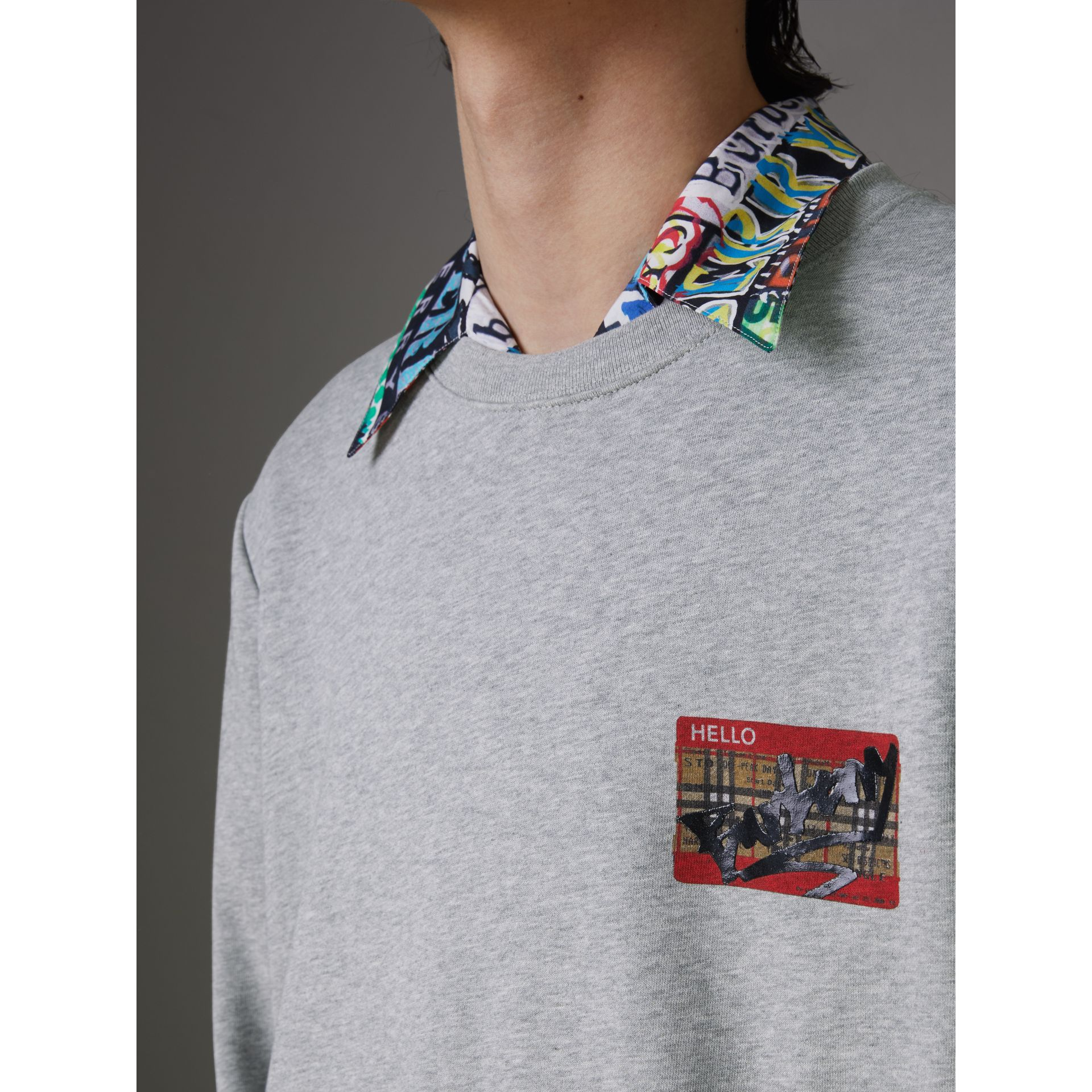 Graffitied Ticket Print Sweatshirt in Pale Grey Melange - Men | Burberry Singapore - gallery image 1