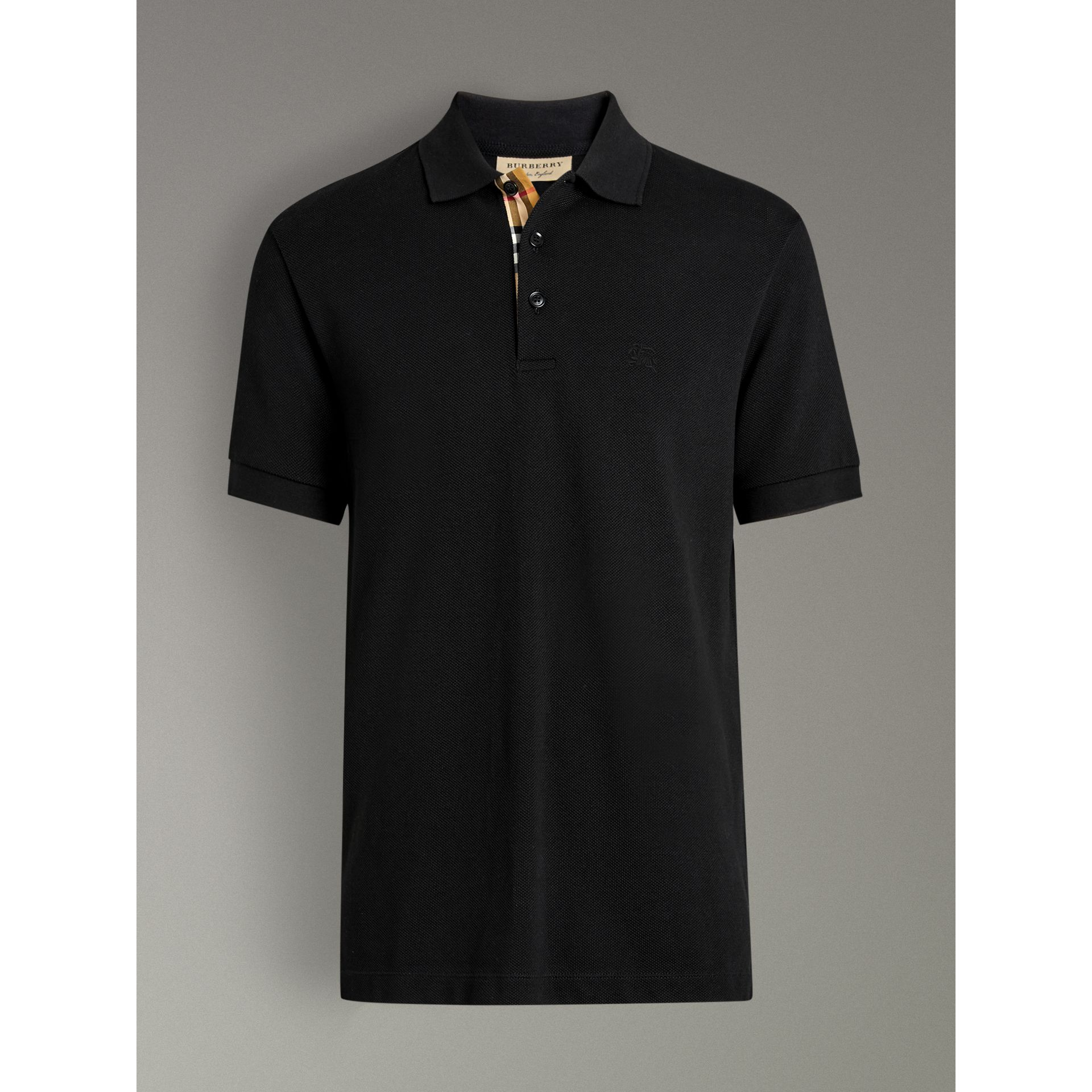 Check Placket Cotton Polo Shirt in Black - Men | Burberry United Kingdom - gallery image 3