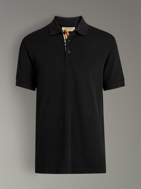 Check Placket Cotton Polo Shirt in Black - Men | Burberry - cell image 3