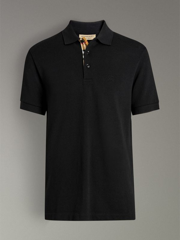 Check Placket Cotton Polo Shirt in Black - Men | Burberry Canada - cell image 3