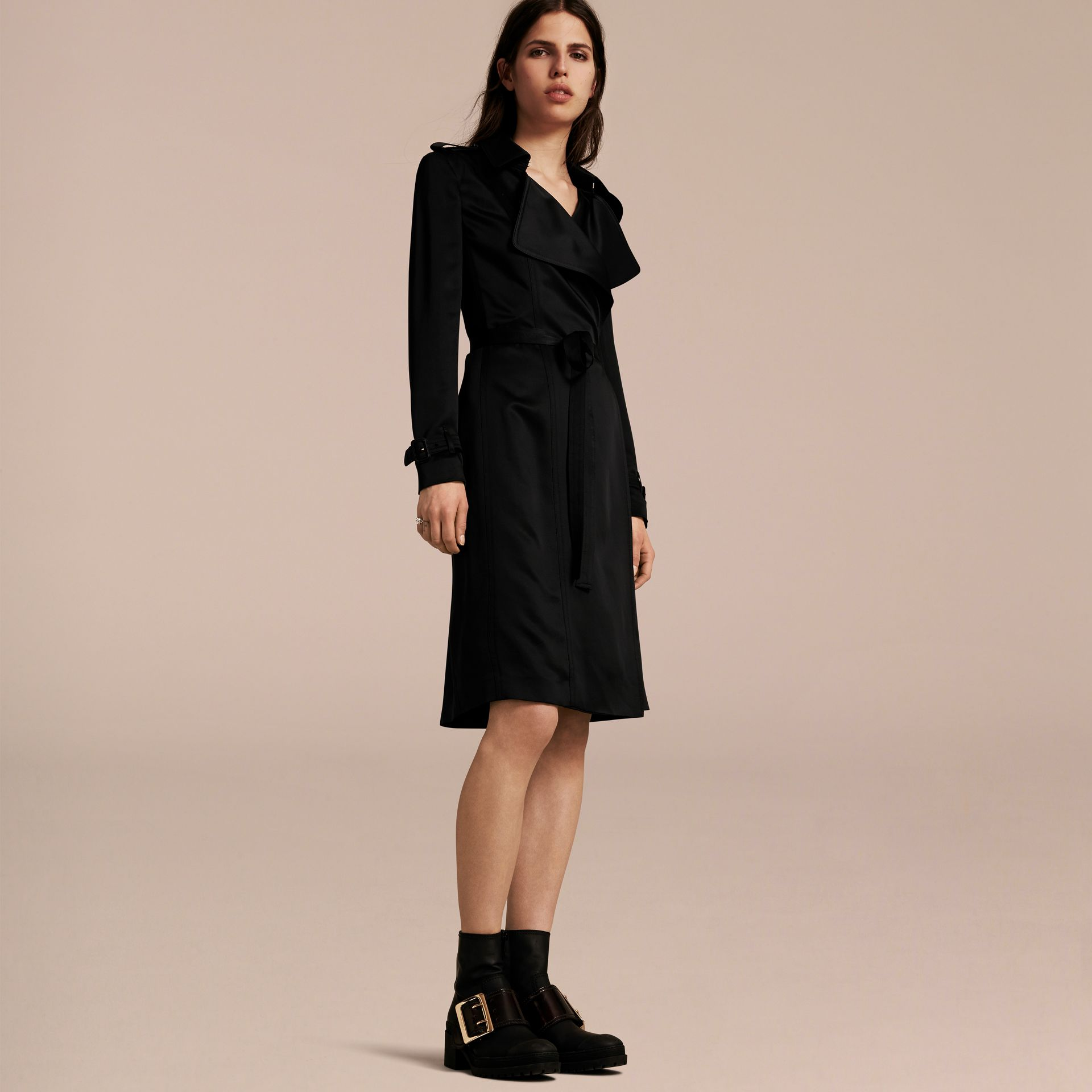 Black Silk Satin Wrap Trench Dress - gallery image 6
