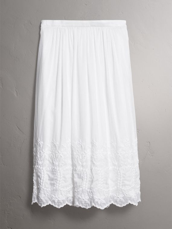 Embroidered Cotton Silk Voile Skirt in White - Women | Burberry - cell image 3