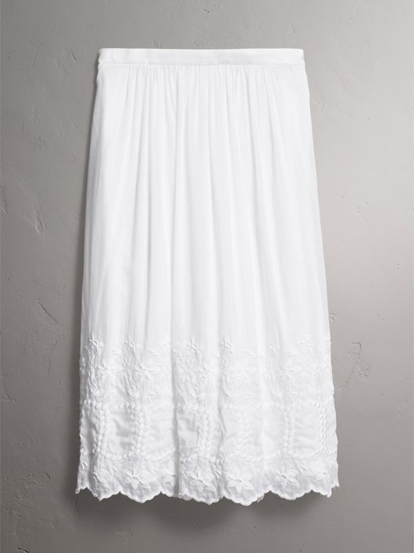Embroidered Cotton Silk Voile Skirt in White - Women | Burberry United Kingdom - cell image 3