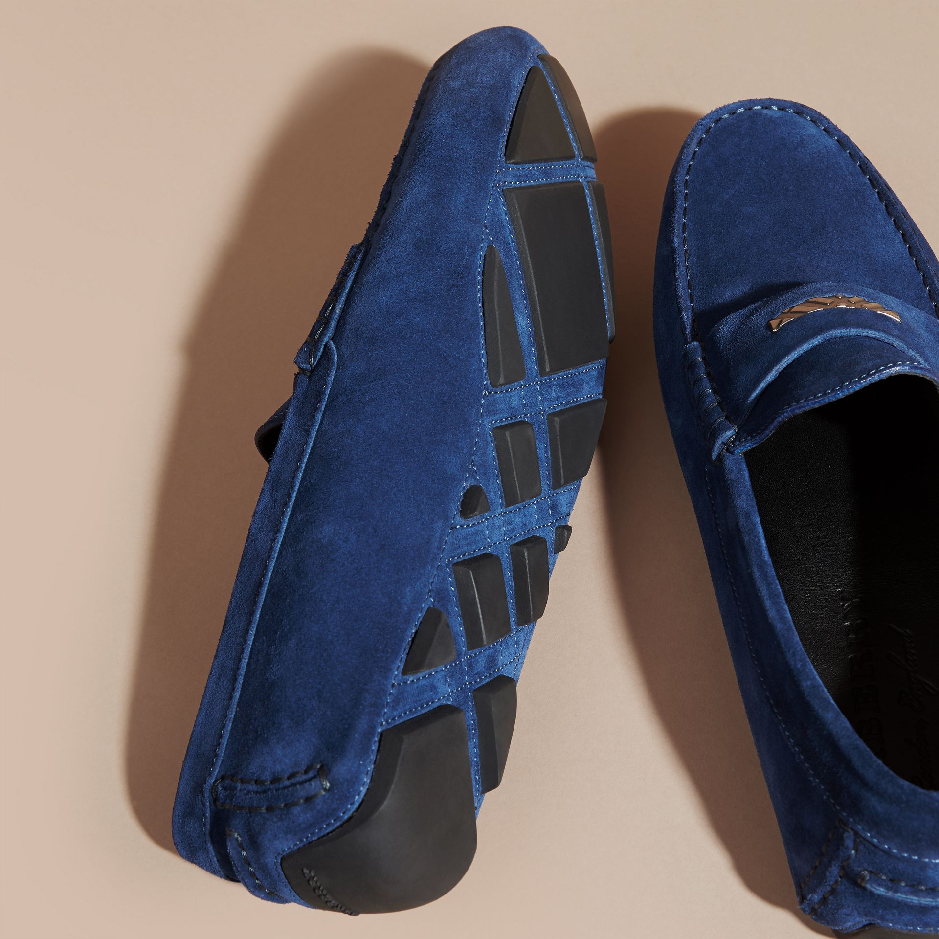 Suede Loafers with Engraved Check Detail in Dragonfly Blue - gallery image 5