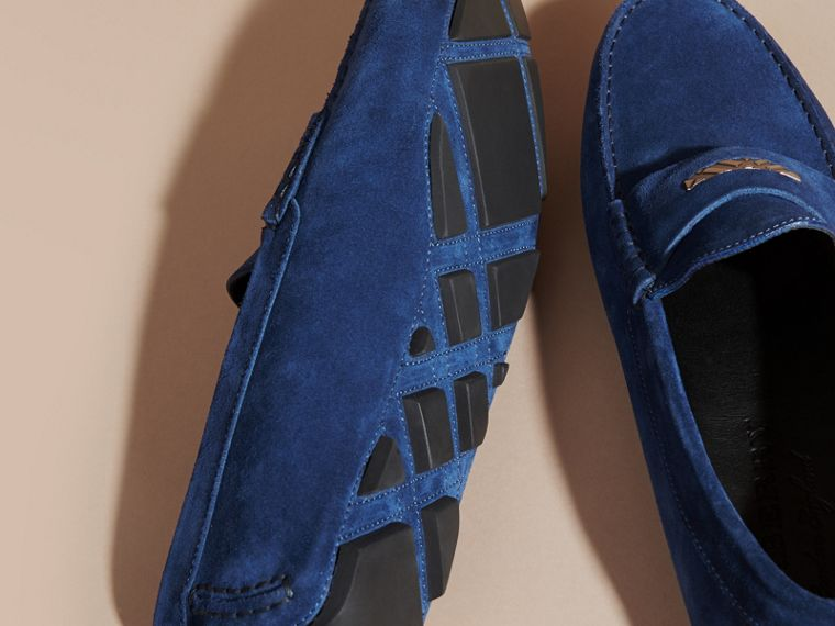 Suede Loafers with Engraved Check Detail in Dragonfly Blue - cell image 4