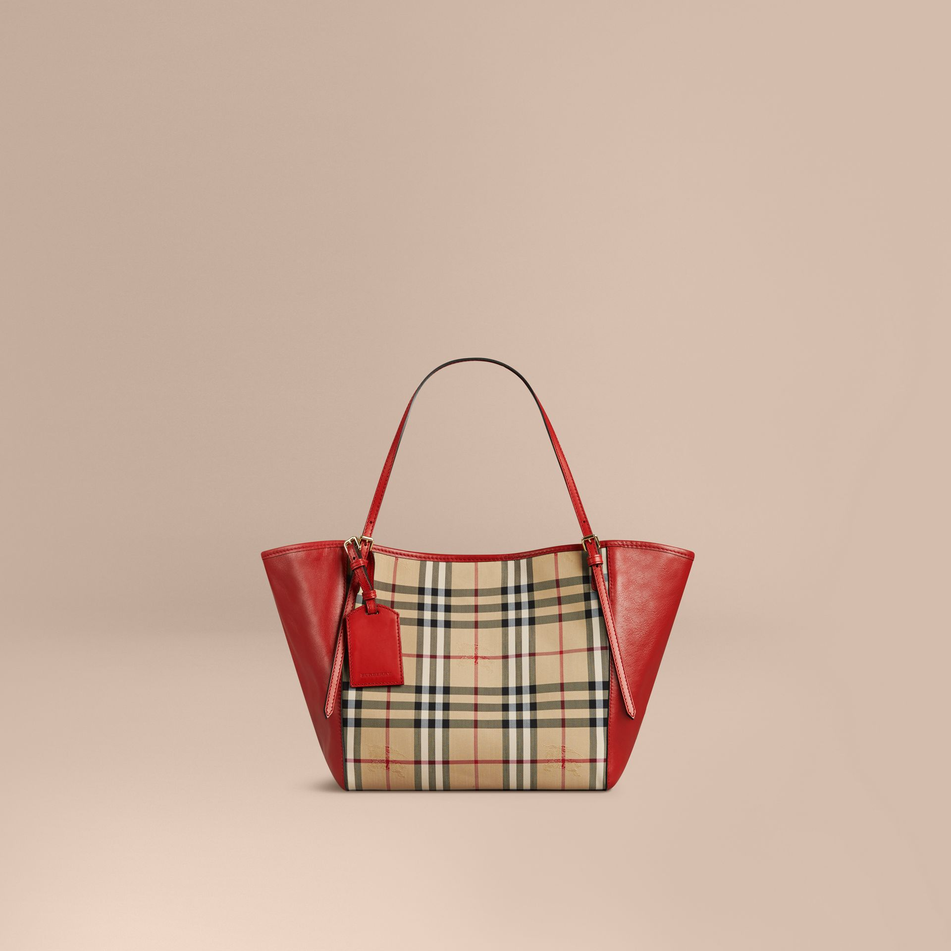 The Small Canter in Horseferry Check and Leather in Honey/parade Red - gallery image 1