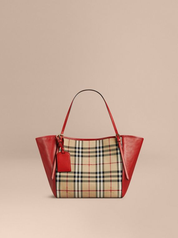 The Small Canter in Horseferry Check and Leather Honey/parade Red