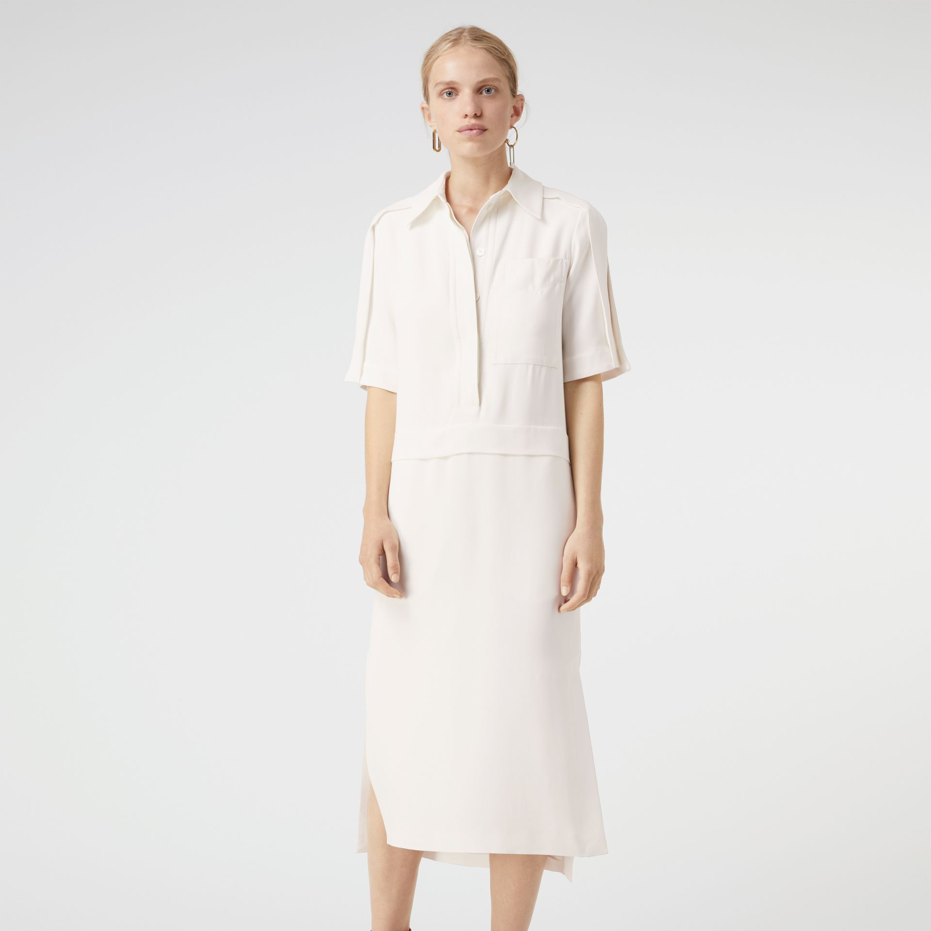 Split Detail Silk Wool Shirt Dress in Off White - Women | Burberry - gallery image 3