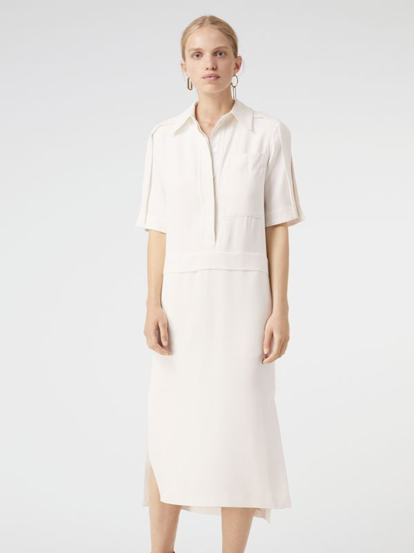 Split Detail Silk Wool Shirt Dress in Off White - Women | Burberry - cell image 3