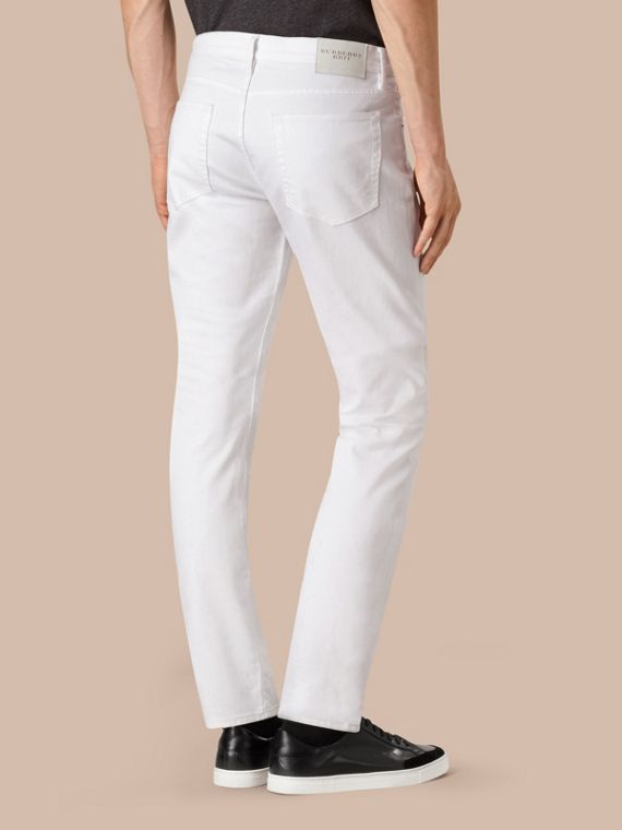 Straight Fit Stretch Japanese Denim Jeans in White - Men | Burberry - cell image 2