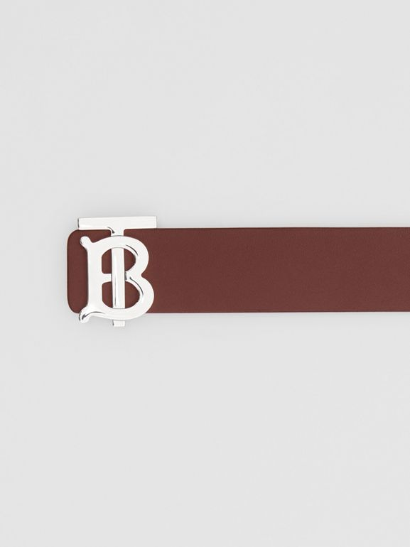 Reversible Monogram Motif Leather Belt in Oxblood - Men | Burberry - cell image 1