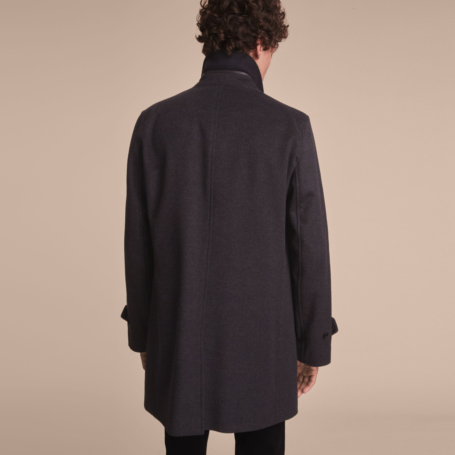 Virgin Wool Cashmere Car Coat Dark Grey Melange - gallery image 3