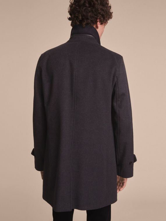 Virgin Wool Cashmere Car Coat Dark Grey Melange - cell image 2