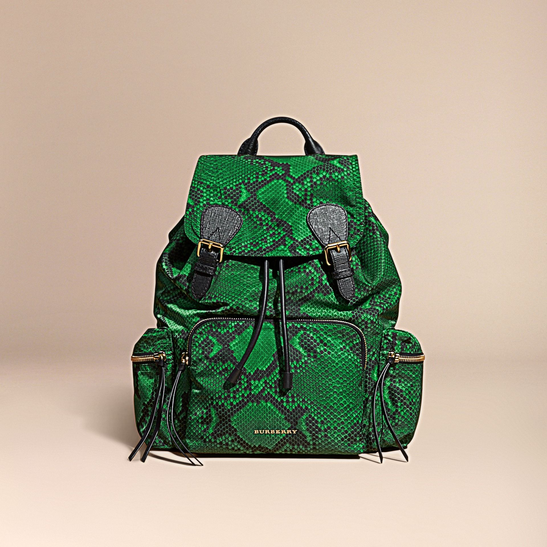 Green The Large Rucksack in Python Print Nylon and Leather Green - gallery image 8