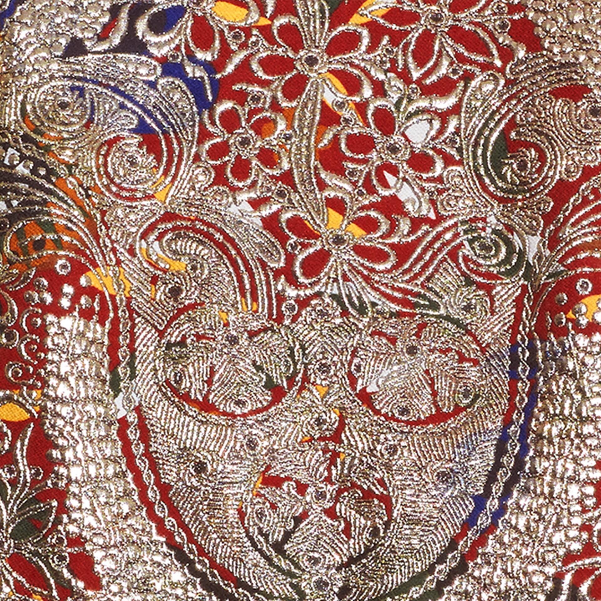 Brun roux Robe à manches sculpturales avec motif floral métallisé en jacquard - photo de la galerie 2