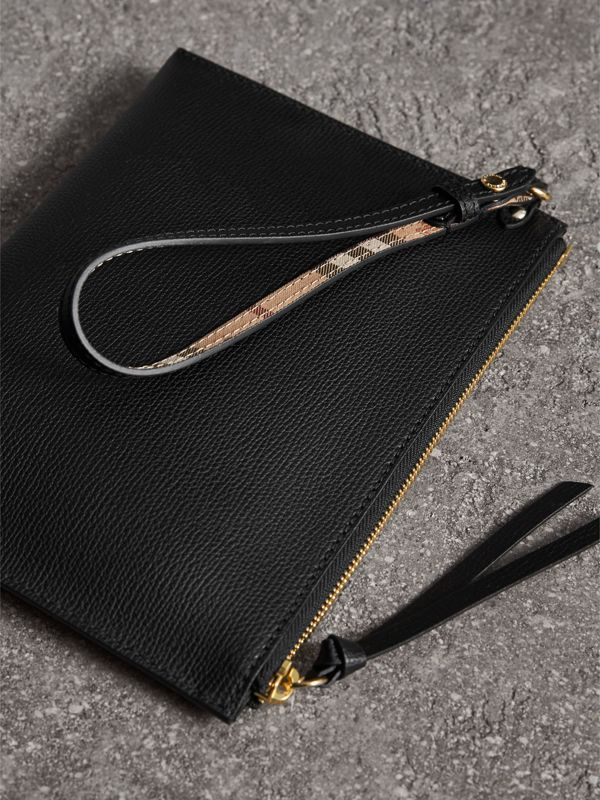 Haymarket Check and Leather Pouch in Black - Women | Burberry United Kingdom - cell image 3