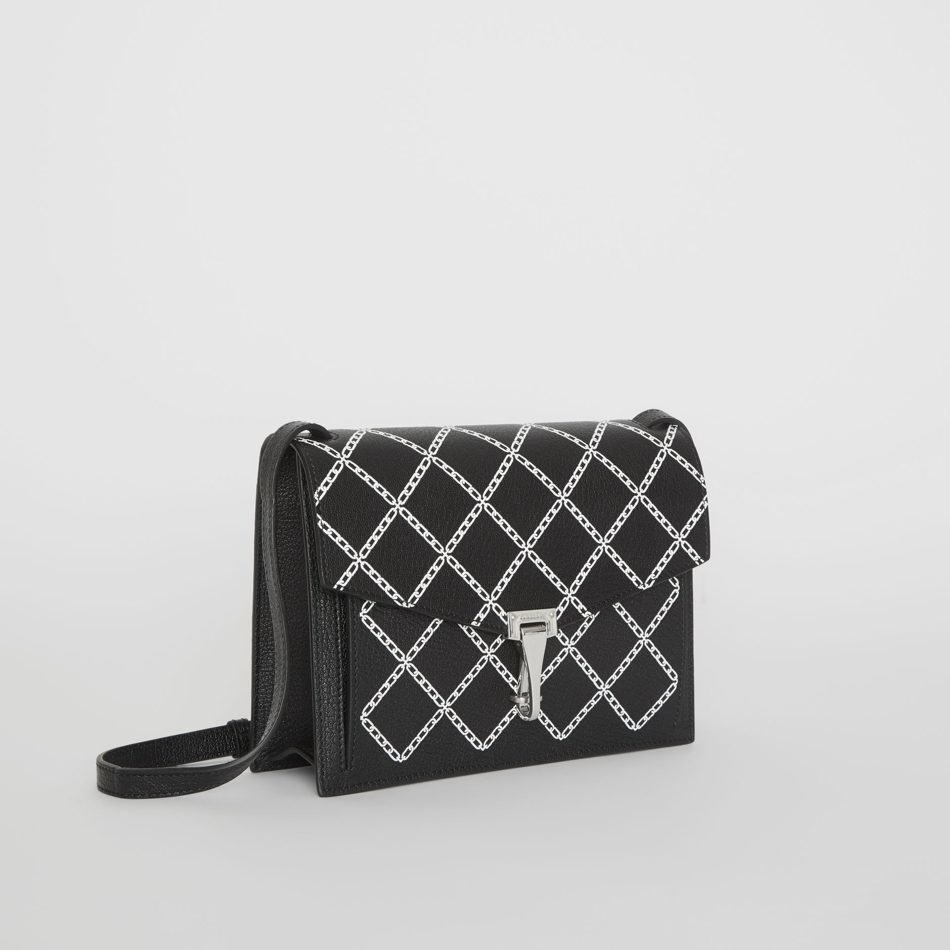 Small Link Print Leather Crossbody Bag in Black - Women | Burberry - gallery image 6