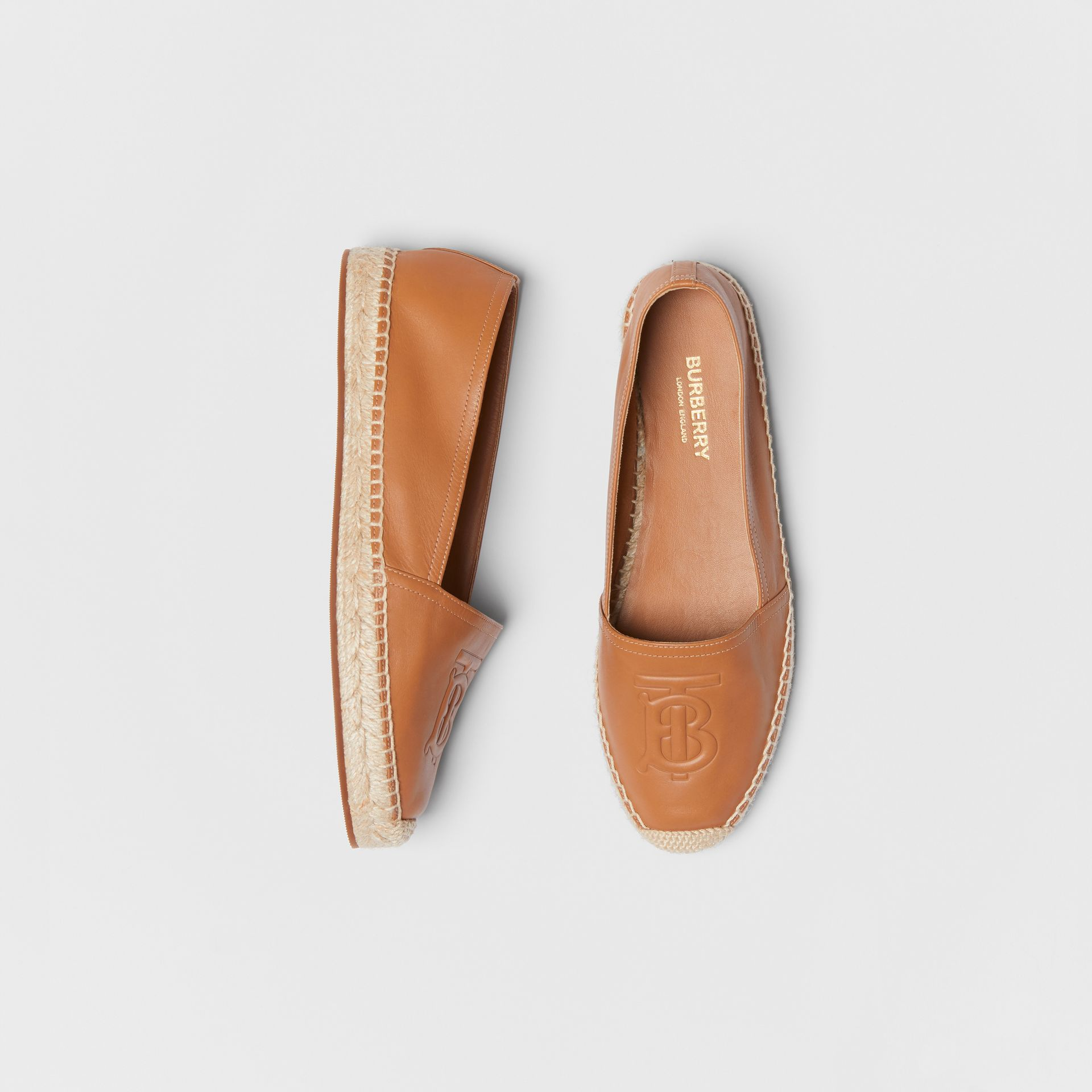 Monogram Motif Lambskin Espadrilles in Camel - Women | Burberry United Kingdom - gallery image 0