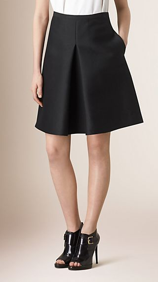 Pleat Front Cotton Silk A-Line Skirt