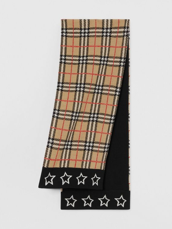 Star Detail Check Merino Wool Jacquard Scarf in Archive Beige