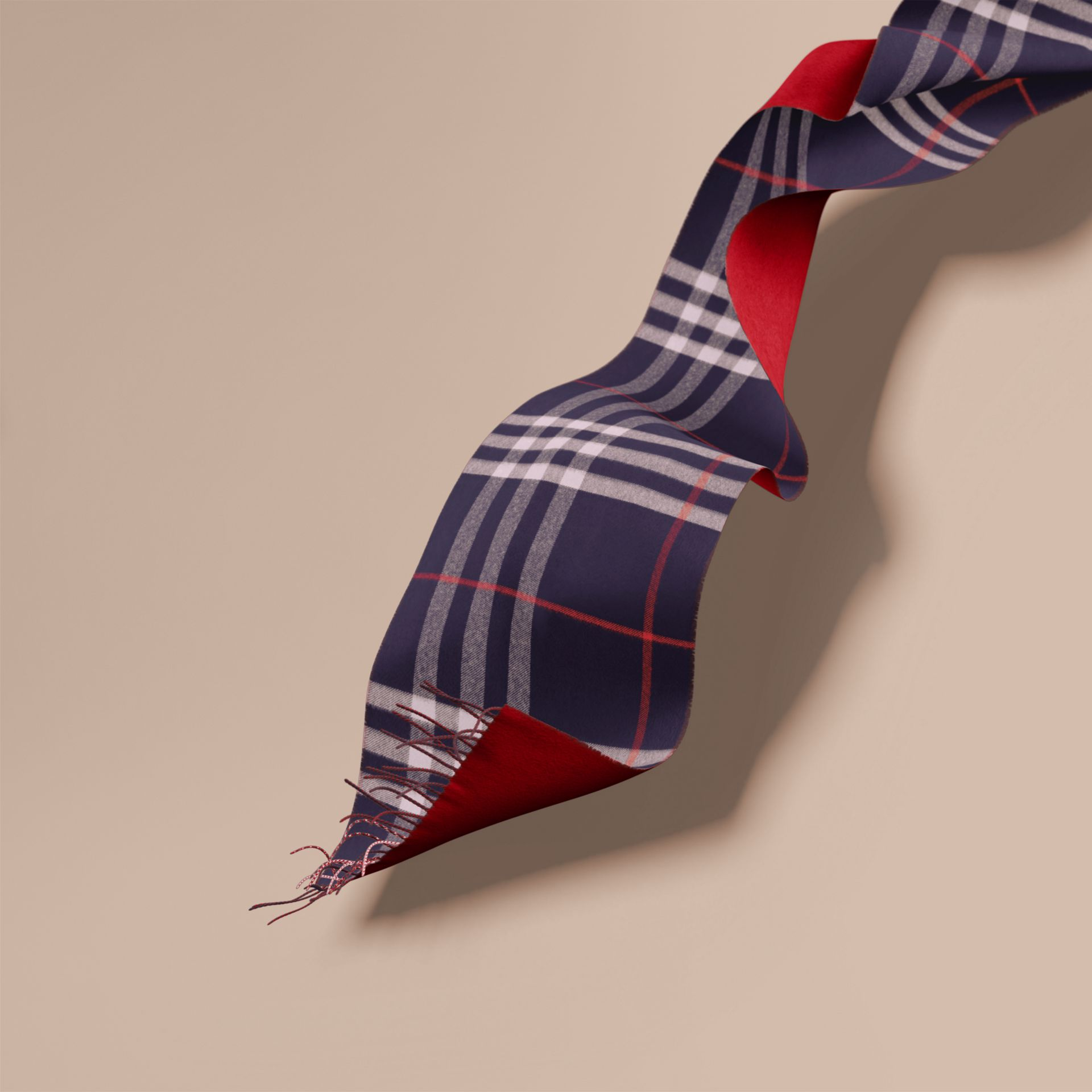 Navy Reversible Check Cashmere and Block-colour Scarf Navy - gallery image 1