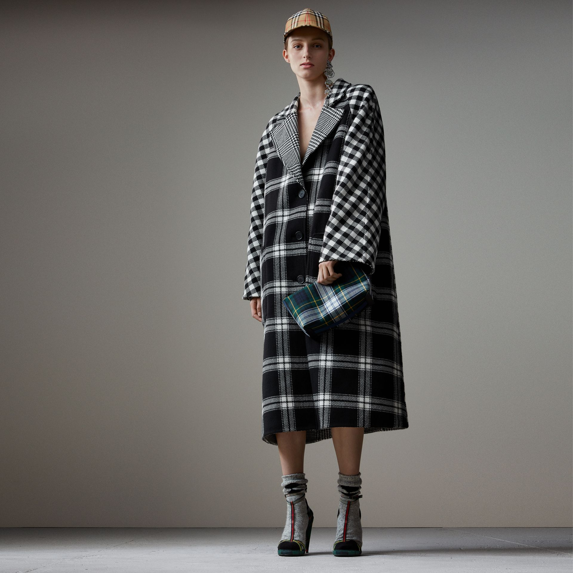 Reversible Multi-check Wool Cashmere Coat in Black/white - Women | Burberry - gallery image 0