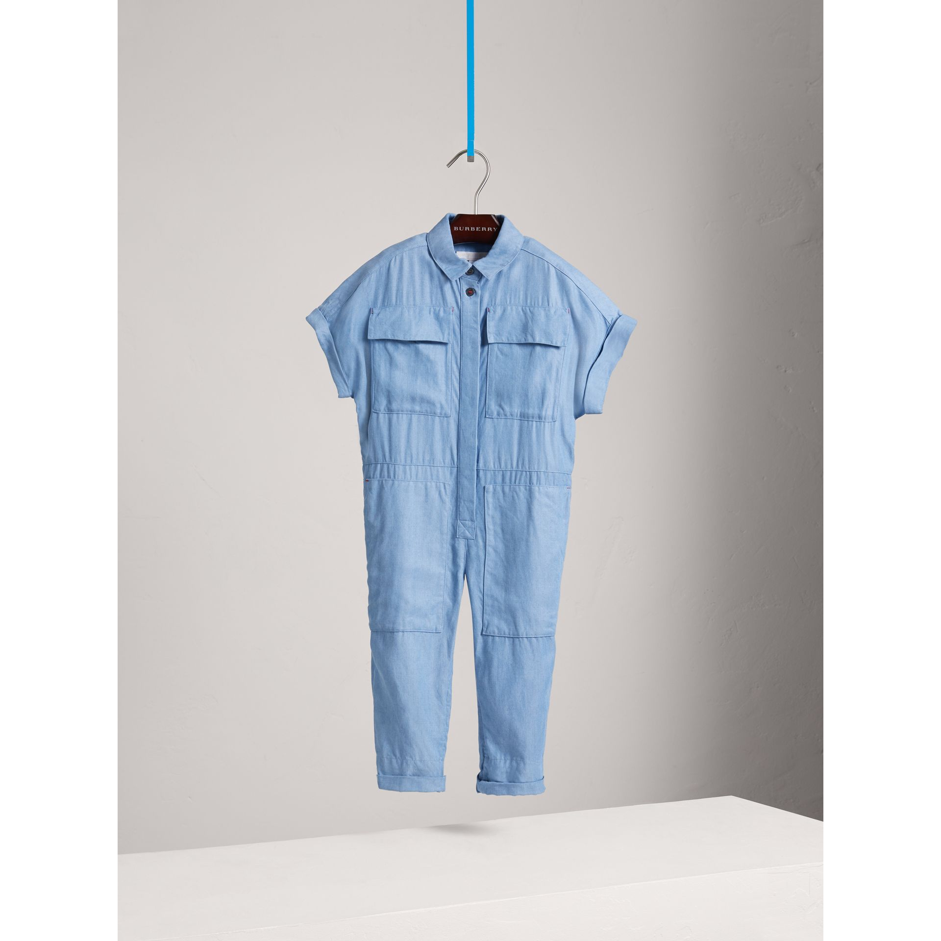 Short-sleeve Chambray Jumpsuit in Steel Blue - Girl | Burberry - gallery image 0