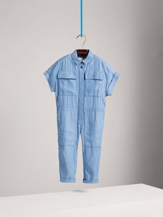 Short-sleeve Chambray Jumpsuit in Steel Blue