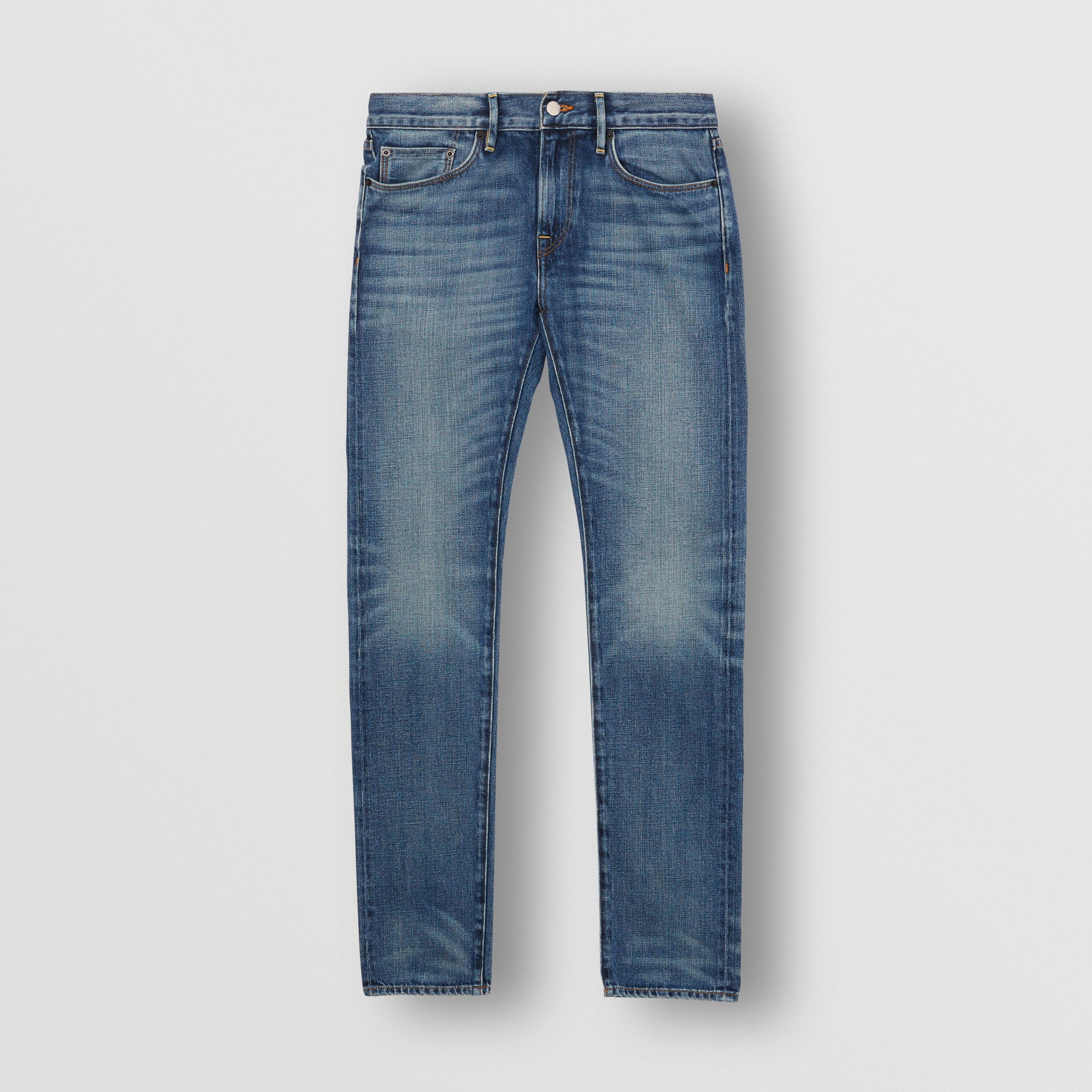 Slim Fit Washed Japanese Selvedge Denim Jeans in Light Indigo - Men | Burberry - 4