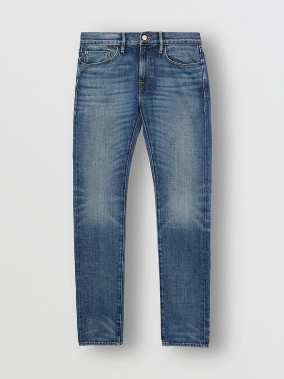 Slim Fit Washed Japanese Selvedge Denim Jeans in Light Indigo