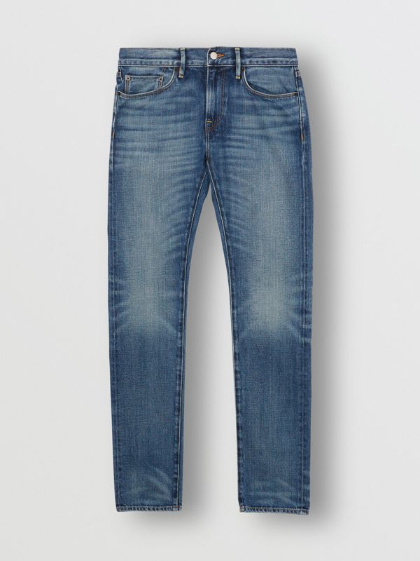 Slim Fit Washed Japanese Selvedge Denim Jeans in Light Indigo - Men | Burberry Canada - cell image 3