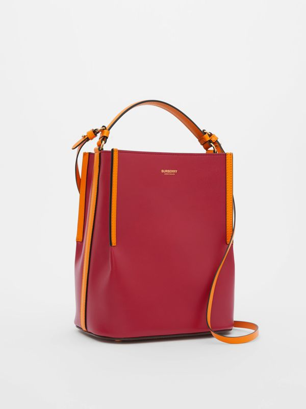 Small Two-tone Leather Peggy Bucket Bag in Crimson - Women | Burberry Australia - cell image 3