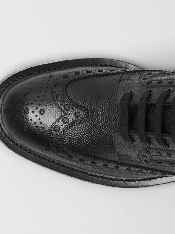 Brogue Detail Grainy Leather Boots in Black - Men | Burberry - cell image 1