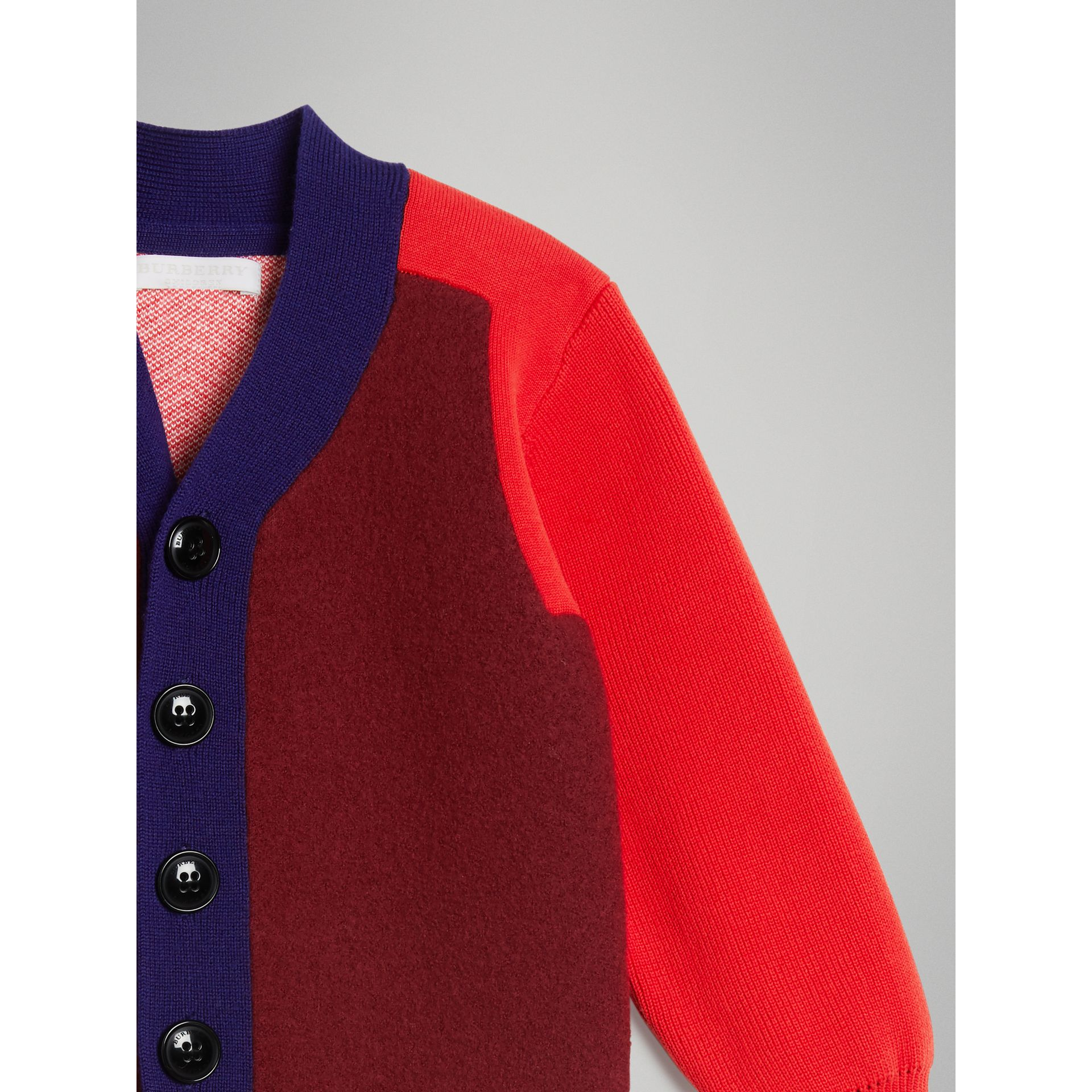 Colour Block Merino Wool Blend Cardigan in Burgundy | Burberry - gallery image 4