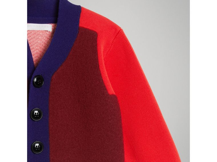 Colour Block Merino Wool Blend Cardigan in Burgundy - Boy | Burberry - cell image 4