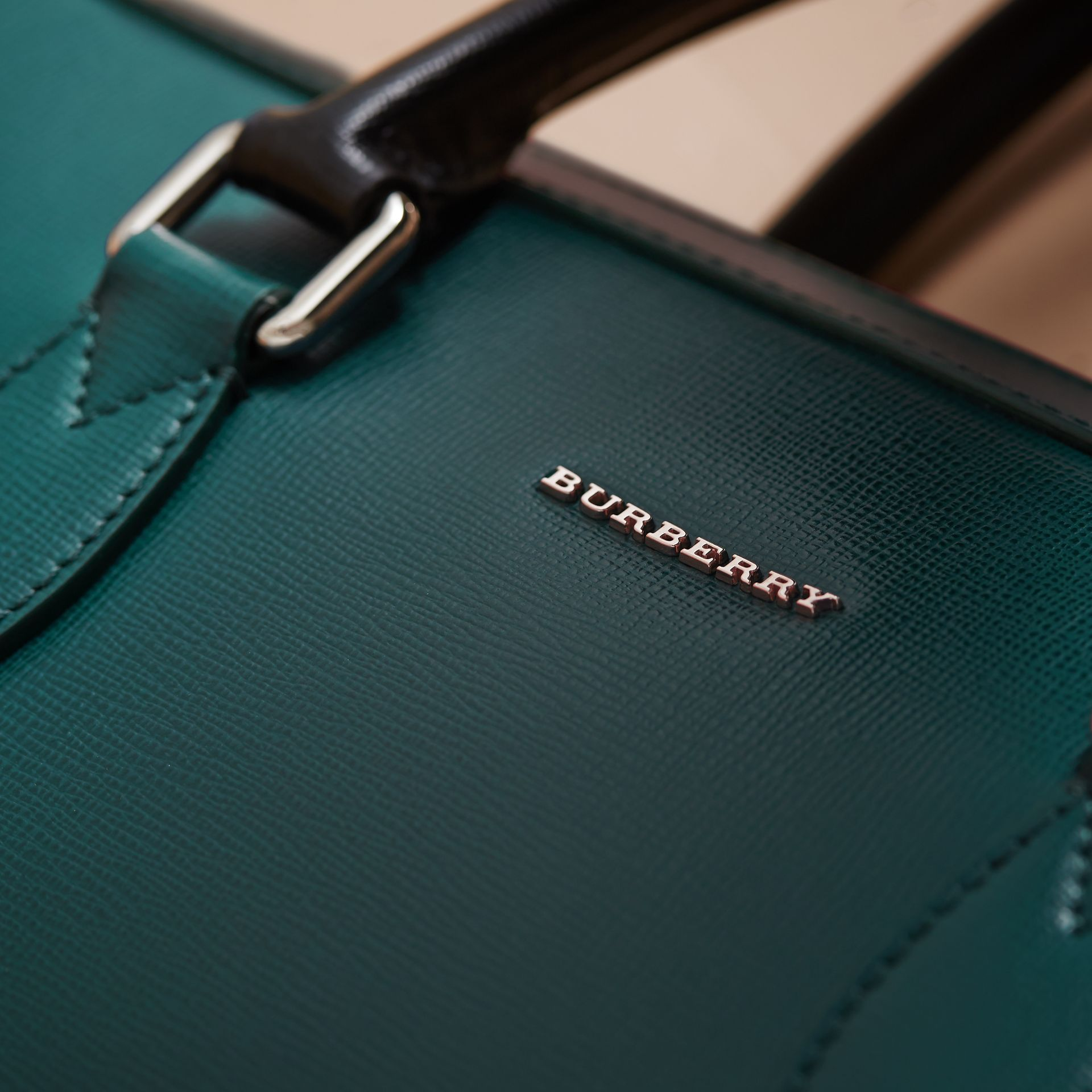 London Leather Briefcase in Dark Teal/black - Men | Burberry - gallery image 7