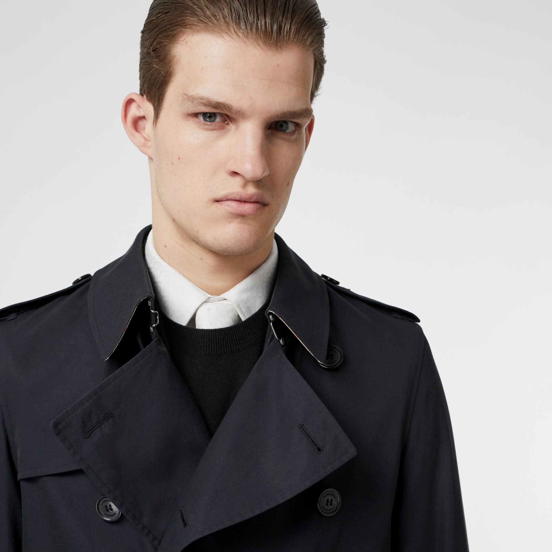 Cotton Gabardine Trench Coat in Midnight Navy - Men | Burberry Canada - gallery image 1