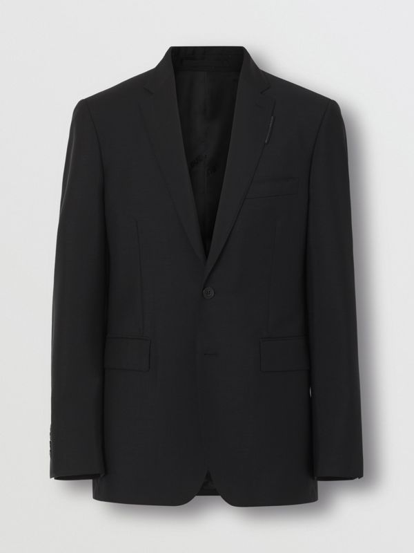 Slim Fit Wool Mohair Suit in Black - Men | Burberry United Kingdom - cell image 2